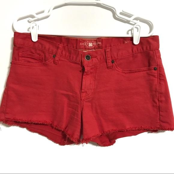 ede470a55e Lucky Brand Riley Womens Red Denim Short Size 6/28